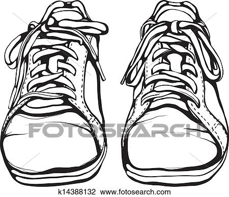 Clipart Of Shabby Running Shoes In Black Ink K14388132
