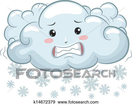 clip art of shivering cloud mascot with snowflakes k14672379