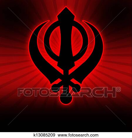 Stock Illustration Of Sikh Symbol Red Black Burst K13085209