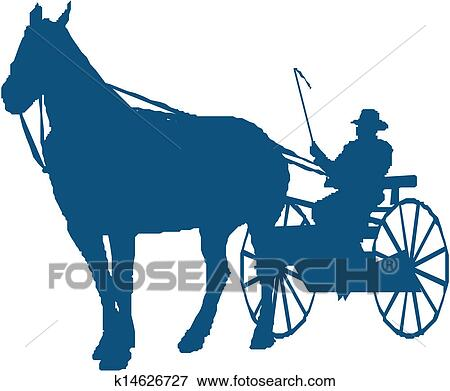clip art of silhouette of a horse and buggy k14626727 search rh fotosearch com horse and buggy clipart free free amish horse and buggy clipart