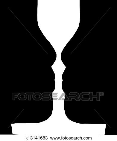 Drawing Of Silhouette Of Two Faces In Black K13141683 Search
