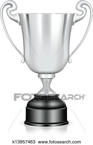 Clipart Of Silver Trophy Vector K13957463