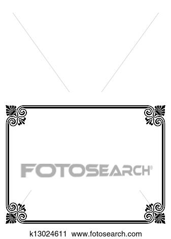 Clipart of simple black ornamental decorative frame k13024611 ...