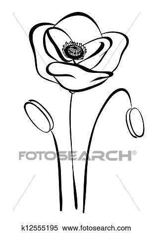 Simple Silhouette Black And White Poppy Abstract Flower Pattern