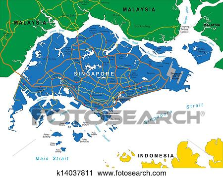 Clipart of Singapore Map k14037811 - Search Clip Art, Illustration ...