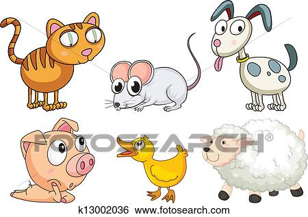 Six Different Kinds Of Animals Clip Art K13002036 Fotosearch