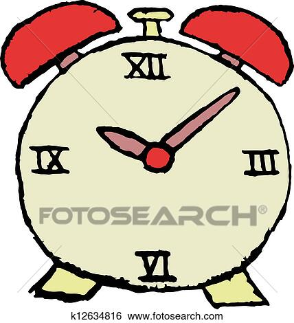 clip art of sketch of alarm clock k12634816 search clipart rh fotosearch com clipart alarm clock alarm clipart images