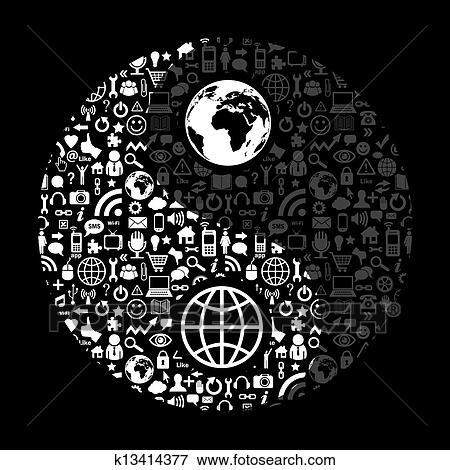 Clip Art Of Social Media Yin Yang Symbol K13414377 Search Clipart