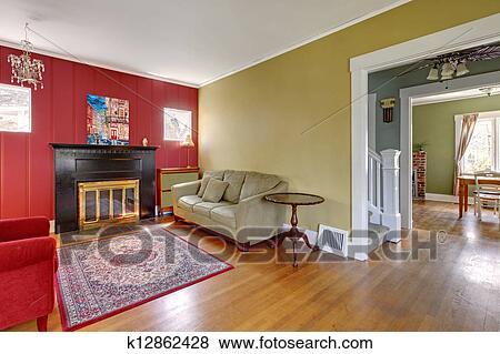 Immagini soggiorno con rosso giallo pareti e fireplace