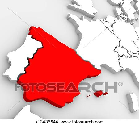 Spain On A Map Of Europe.Spain Abstract 3d Map Country Nation In Europe Drawings K13436544