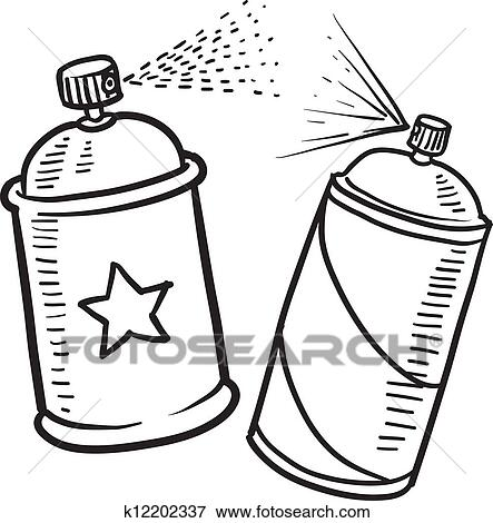 Spray Paint Can Sketch Clip Art K12202337 Fotosearch