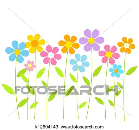 Clipart of spring flowers k12694143 search clip art illustration clipart spring flowers fotosearch search clip art illustration murals drawings and mightylinksfo