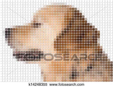 Square Rounded Pixel Image Of Dog Stock Illustration