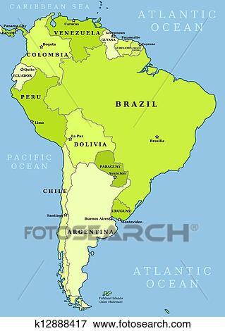 Clip Art Sudamérica Administrativo Mapa K Buscar - Mapa de sur america