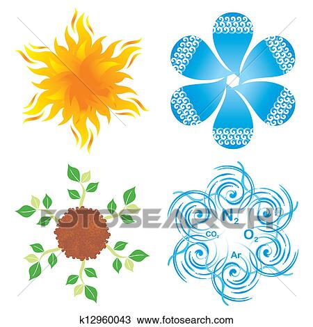 Clipart Of Symbols Of Four Elements K12960043 Search Clip Art