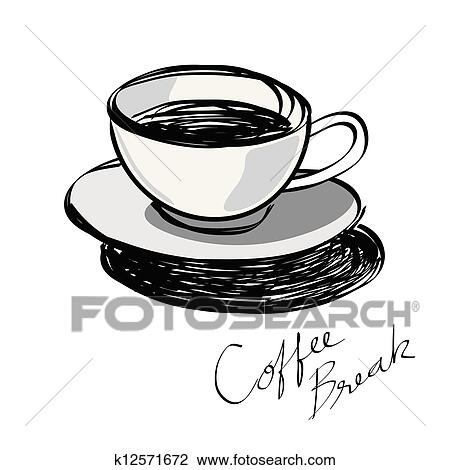 Clipart Tasse Kaffee Hand Gezeichnet K12571672 Suche Clip Art