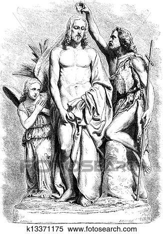 Taufe Jesus Christ Altmodisch Stich Clipart K13371175
