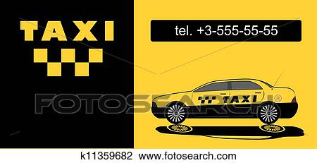 Carte Visite Chauffeur De Taxi Vecteur
