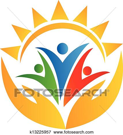 clip art of teamwork hands and sun logo k13225957 search clipart rh fotosearch com sun logo vector free download sun logo vector png