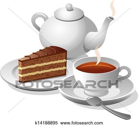 Clipart Tee Und Kuchen K14188895 Suche Clip Art Illustration