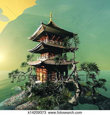 desenho templo budista em montanhas k14209373 busca de imagens