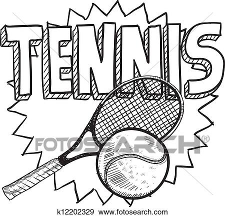 Clip Art Of Tennis Sketch K12202329