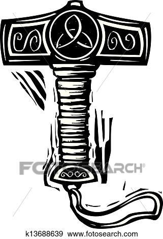 Clip Art Of Thors Hammer Mjolnir K13688639 Search Clipart