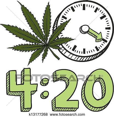 Clip Art Of Time To Smoke Marijuana Sketch K13177268 Search