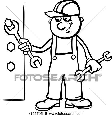 Clip Art - trabajador, con, llave inglesa, colorido, página ...