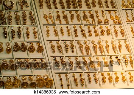 Traditional Indian Gold Jewellery For Sale In The Shop Stock