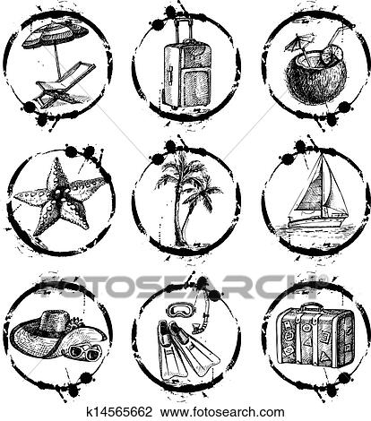 Clipart Of Travel And Vacation Stamp Collection