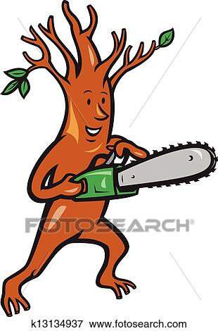 clip art of tree man arborist with chainsaw k13134937 search rh fotosearch com