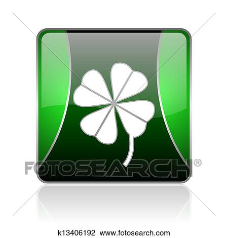 Trevo Quatro Folha Preto Verde Quadrado Teia Lustroso Icone