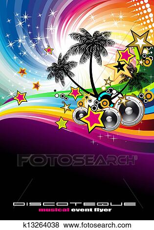 clip art of tropical music event disco flyer k13264038 search