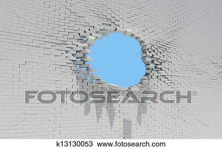 Trou, dans, a, mur brique Dessin | k13130053 | Fotosearch