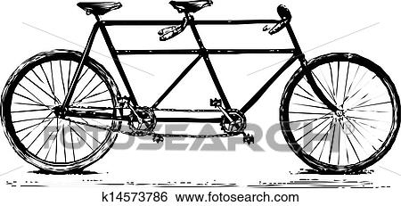 Clip Art Of Tuned Retro Tandem Bicycle K14573786