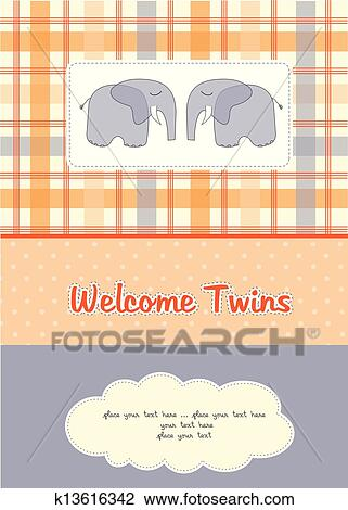 Twins Baby Shower Card With Two Elephants Clipart K13616342