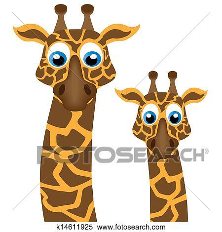 Two funny giraffe, vector Clipart   k14611925   Fotosearch