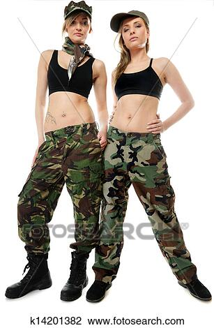 Full length two women in military clothes army girls isolated on white  background. 37768aadb6