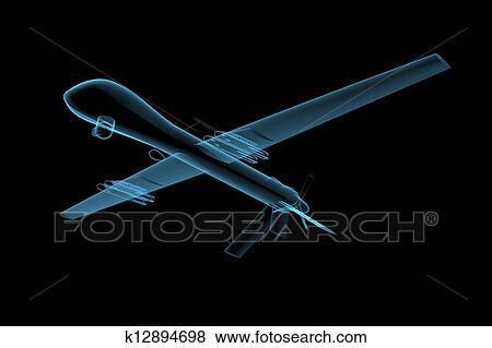 UAV Predator Drone 3D X Ray Blue Transparent Isolated On Black