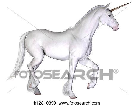Unicorno Isolato Su Il Sfondo Bianco Archivio Illustrazioni