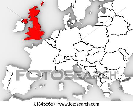 United Kingdom England Map Northern Europe Great Britain Stock