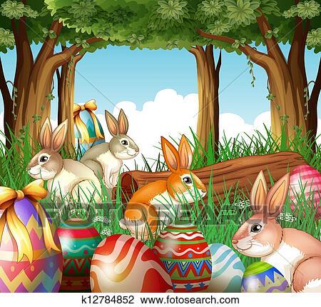 Uno gruppo di coniglietti e uova pasqua clipart k