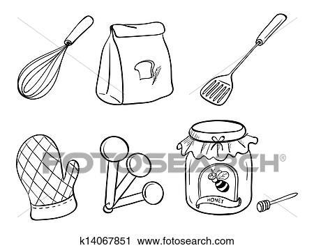 Clipart uno scarabocchiare set di utensili cucina for Utensili cucina