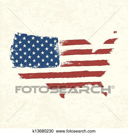 American Map Vector.Clipart Of Usa Flag Shape Of American Map Vector Eps10 K13680230