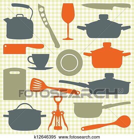 Clipart Utensilios De La Cocina Vector Silueta K12646395
