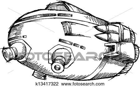 Vaisseau spatial ovnis croquis vecteur art clipart k13417322 fotosearch - Dessin vaisseau spatial ...