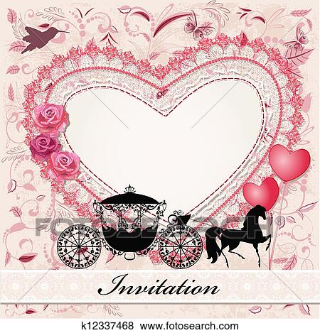 Clip Art Of Valentine S Card With A Horse And Carriage K12337468