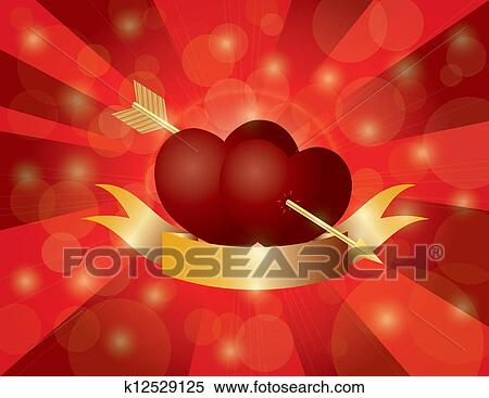 Clipart Of Valentines Day Double Hearts With Arrow And Banner