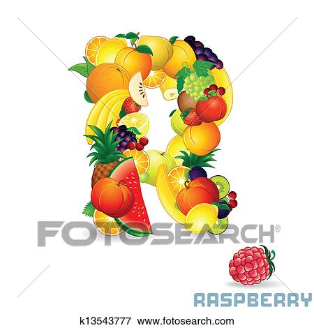 clip art of vector alphabet from fruit letter r k13543777 search
